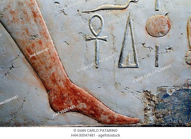 Luxor, Egypt. Temple of Merenptah (Baenra Meriamon) XIX° dyn. son of Ramses II the Great: a sculpture representing a foot of tha pharaoh