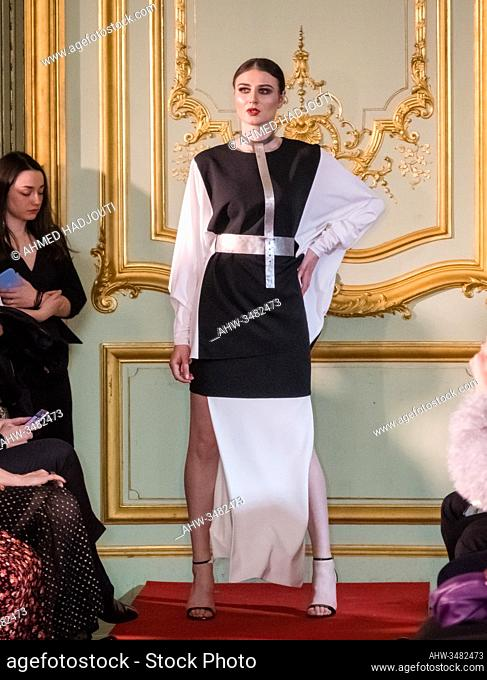PARIS, FRANCE - FEBRUARY 26: A model walks the runway during the Romanian designers collective show wearing the designs of Carmen Ormenisan as part of Paris...