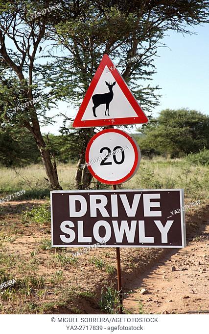 Drive Slowly Sign at Okonjima in Namibia