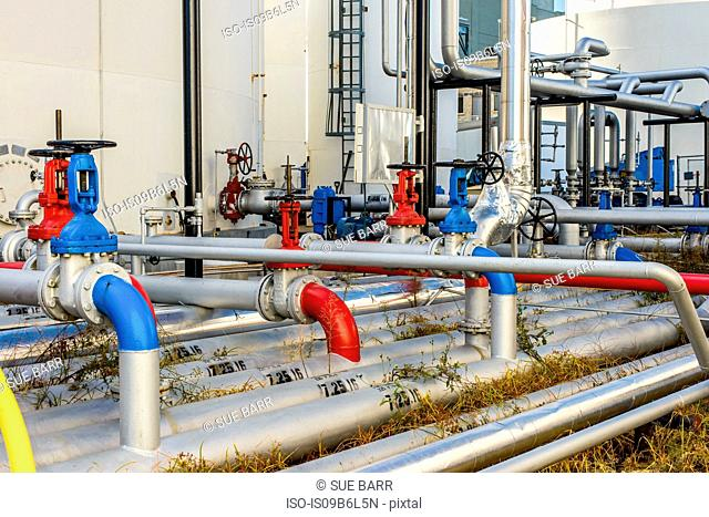 Industrial piping valves at biofuel plant