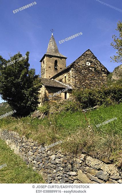 Romanesque church of Sant Roc of Begos, Aran Valley, Lleida province, pyrenees mountain, Spain