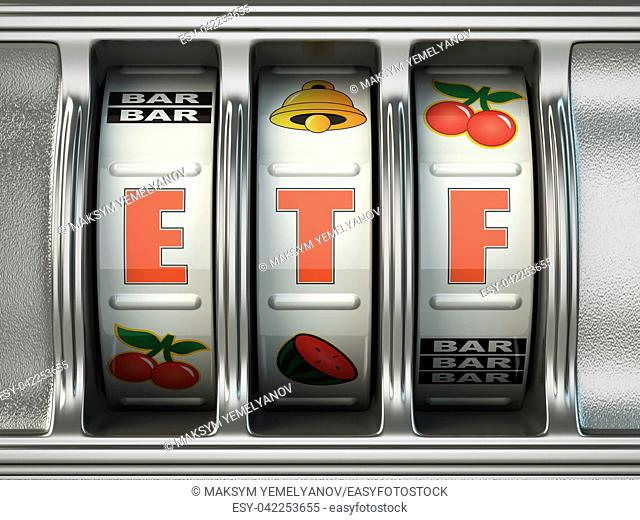 ETF exchange traded fund as jackpot on a slot machine, Successful and profitable investments concept. 3d illustration