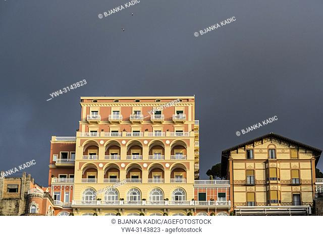 Hotel with balconies, Sorrento, Italy