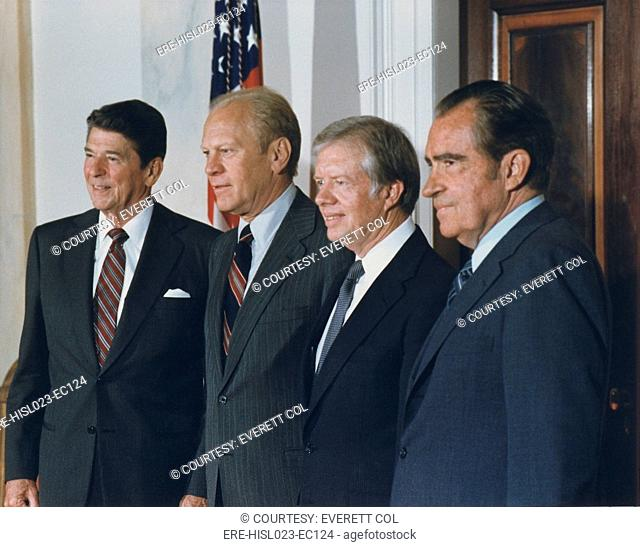 Four Presidents Reagan Ford Carter and Nixon prior to leaving for Egypt and Sadat's funeral. Oct. 8 1981. BSLOC-2011-2-20