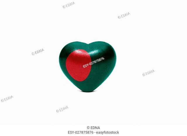 heart with national flag of bangladesh on the white background