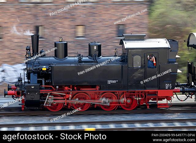 09 April 2020, Thuringia, Meiningen: The newly repaired steam locomotive 99 886 of the Rhön train, which was severely damaged in an accident in summer 2018