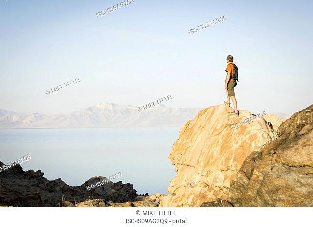 Man hiking the Lakeside Trail, Zion National Park, Utah, USA