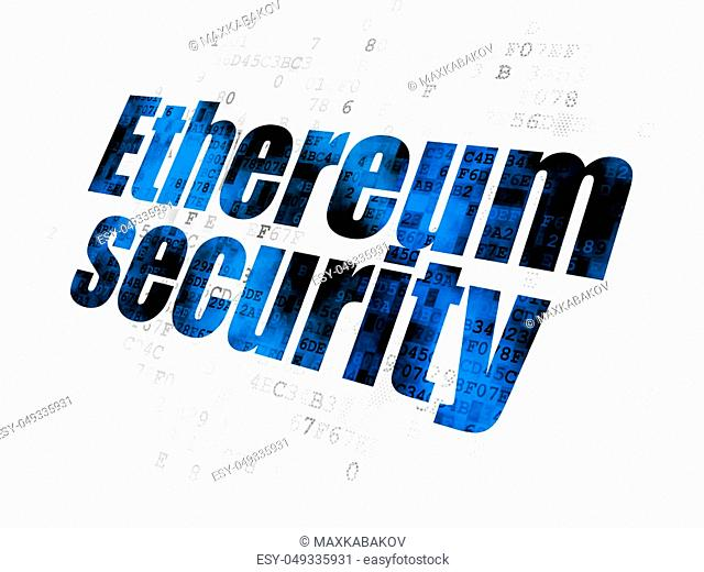 Cryptocurrency concept: Pixelated blue text Ethereum Security on Digital background