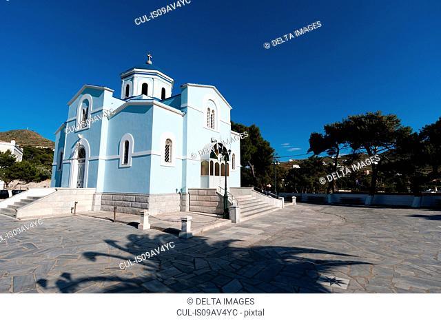 Blue orthodox church, Syros, Cyclades Islands, Aegean sea, Greece