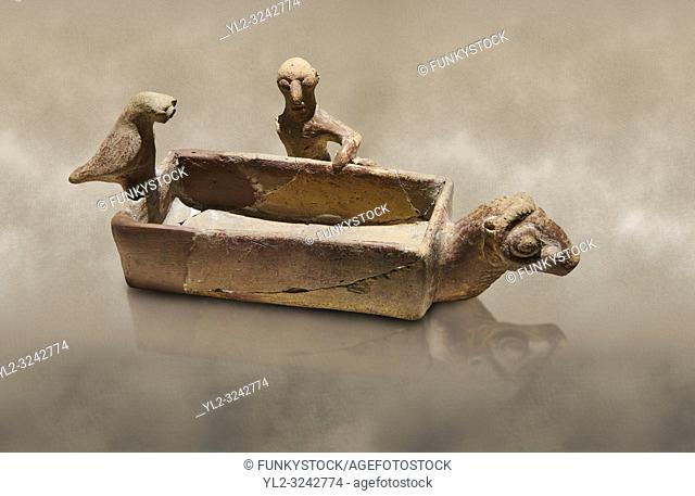 Assyrian Trader Colony Bronze Age terracotta sandal shaped ritual vessed. This cult pot is boat shaped with an animal head at the front