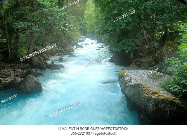 river in Pré-St.-Didier, valley of Aosta. Italy
