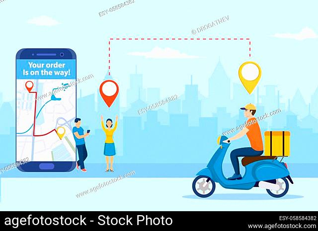 online delivery service concept. men order food via smartphone. delivery home and office. scooter courier. template, mobile app, poster, banner