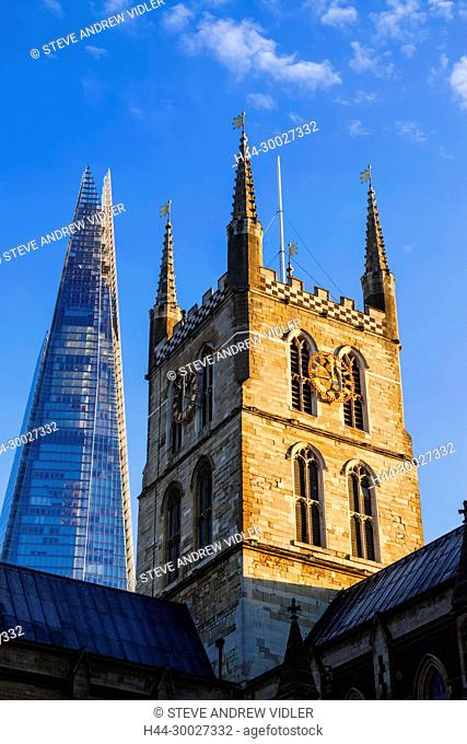 England, London, Southwark, Southwark Cathedral and The Shard