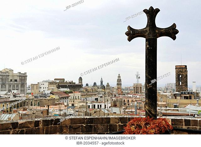 View from the roof of La Catedral de la Santa Creu i Santa Eulalia, The Cathedral of the Holy Cross and Saint Eulalia, over the Gothic Quarter, Barri Gòtic