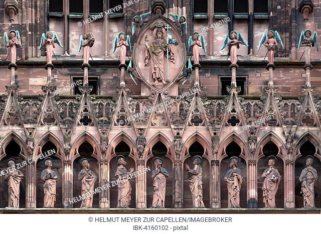 Religious sculptures above the entrance of the Strasbourg Cathedral, Alsace, France