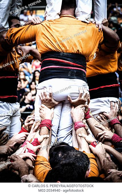 Tarragona, Spain, Contest Castellers (human towers). The castellers are UNESCO World Heritage