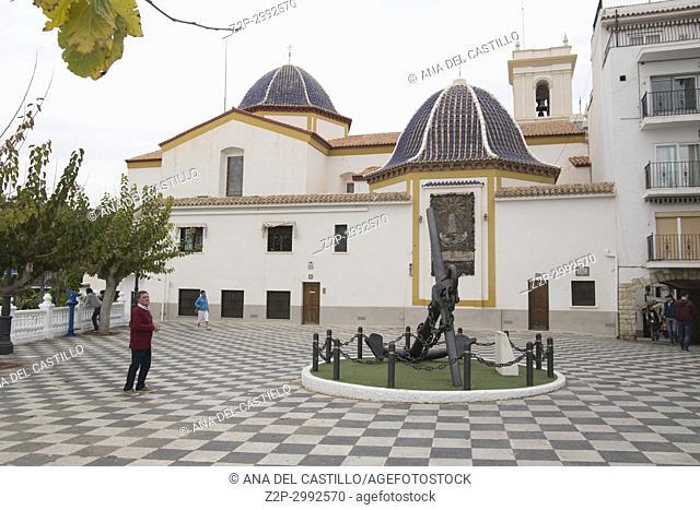Church at Mediterranean Balcony outlook in Benidorm, Alicante Spain
