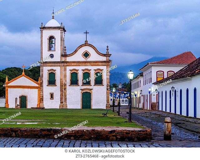 Brazil, State of Rio de Janeiro, Paraty, Twilight view of the Santa Rita Church