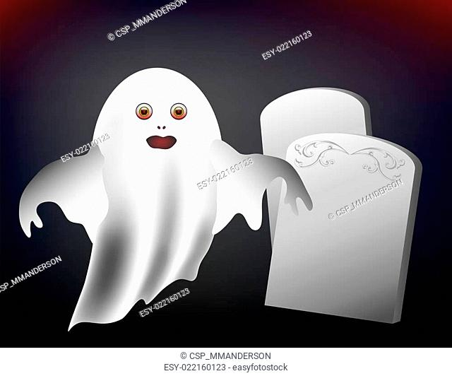 Spooky ghost and headstones