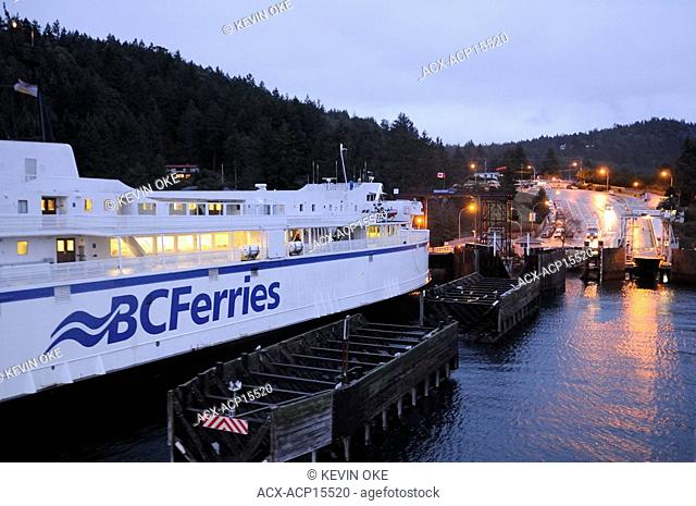 The Queen of Nanaimo berthed at Village Bay, Mayne Island, British Columbia, Canada
