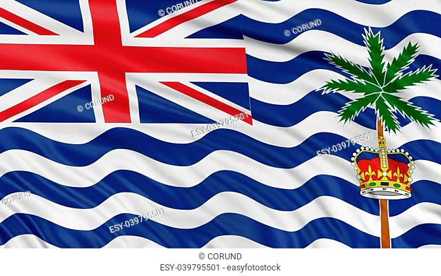 3D British Indian Ocean Territory flag with fabric surface texture. White background