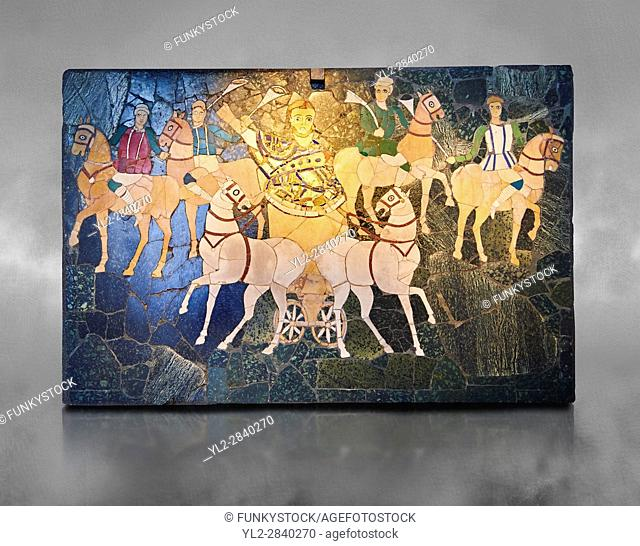 4th Century AD Roman Opus Sectile Mosaic of a chariot & 4 horses from the basilica de Giunio Basso. Museo Nazionale Romano ( National Roman Museum), Rome, Italy