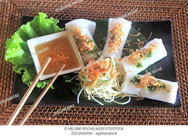 Upscale spring rolls dish at Mango Bay Resort, Pho Quoc island, Vietnam, Asia
