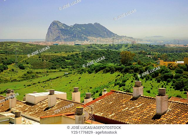 Panoramic view with Rock of Gibraltar, San Roque, Cadiz-province, Spain