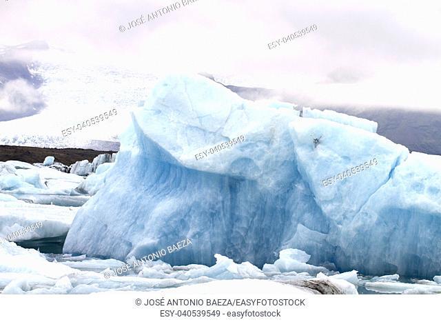 blue ice in the Vatnajökull glacier in Iceland