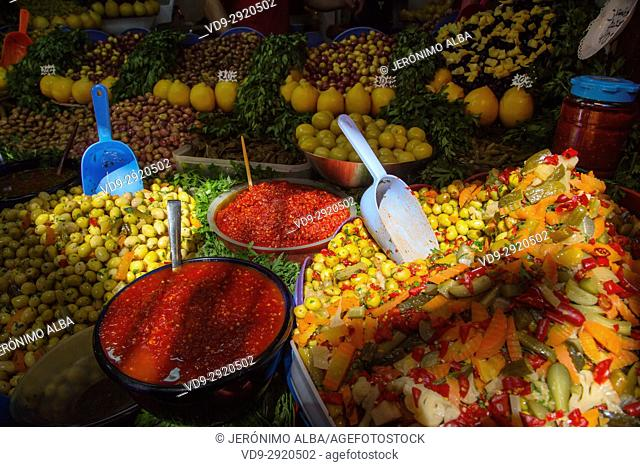 Moroccan style olives and pickle shop. Souk Medina of Fez, Fes el Bali. Morocco, Maghreb North Africa