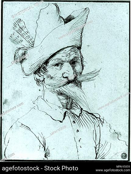 Male Caricature. Artist: Follower of Guercino (1591-1666); Date: mid-late 17th century; Medium: Pen and brown ink; Dimensions: 8 9/16 x 6 7/8 in. (21