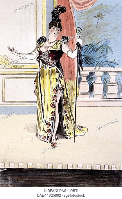Cafe-concert singer, engraving by Masse, painted by Pierre Vidal. From La Femme in Paris: Our contemporaries, 1894, by Octave Uzanne (1851-1931)