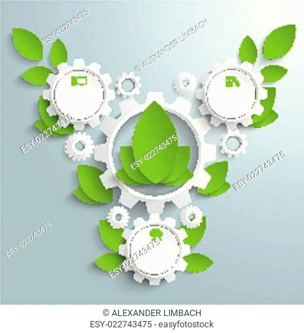 Big Eco Gear With Green Leaves 3 Options PiAd