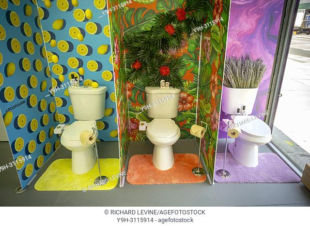 "Decorated """"model toilets"""" at the luxury bathroom brands Tushy and Poo-Pourri """"poop-up"""" on the Bowery in New York on Wednesday, May 30, 2018"