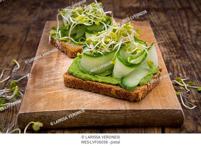 Sandwich with avocado cream and cucumber garnished with radish sprouts