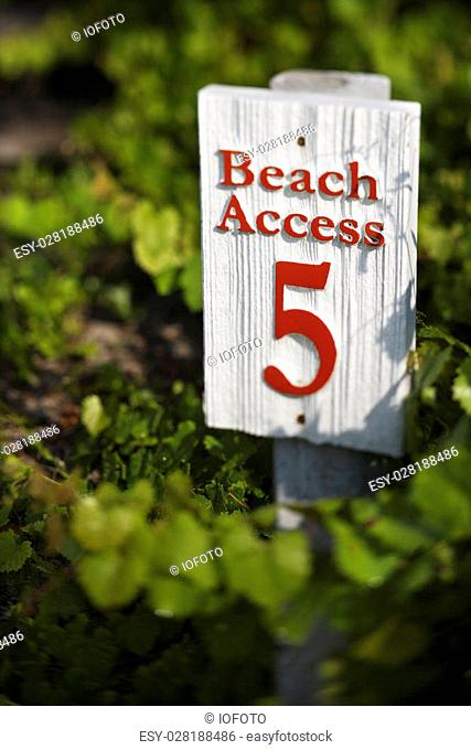 Beach access sign on Bald Head Island, North Carolina