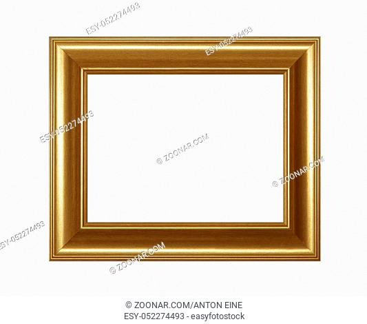 Vintage old wooden classic golden painted horizontal rectangular frame for picture or photo, isolated on white background, close up