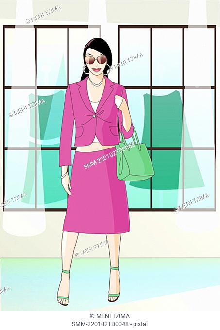 Woman with a suit in front of clothes store