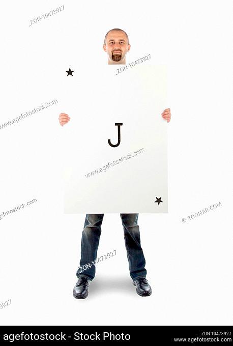 Businessman with large playing card - Joker black