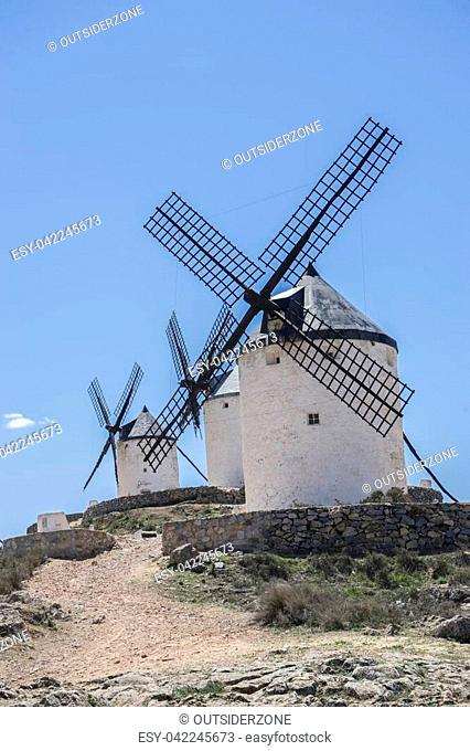 windmills of Consuegra in Toledo, Spain. They served to grind grain crop fields