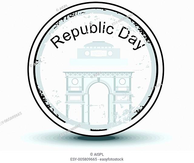 Vector illustration of a rubber stamp with text Republic day an