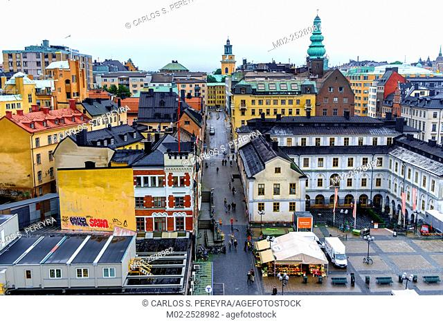 Aerial view of Sodermalm district, Stockholm, Sweden