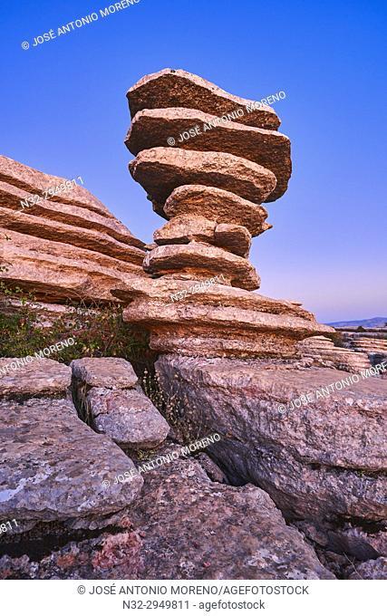 The Screw, El Tornillo, Natural Monunment, Sunset, Torcal de Antequera, Erosion working on Jurassic limestones, Malaga province, Antequera