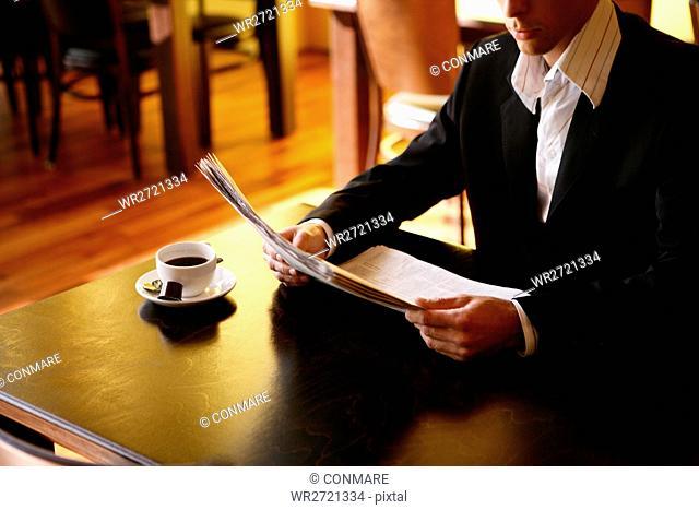 man, beauty, reading, sit, newspaper, male, adult