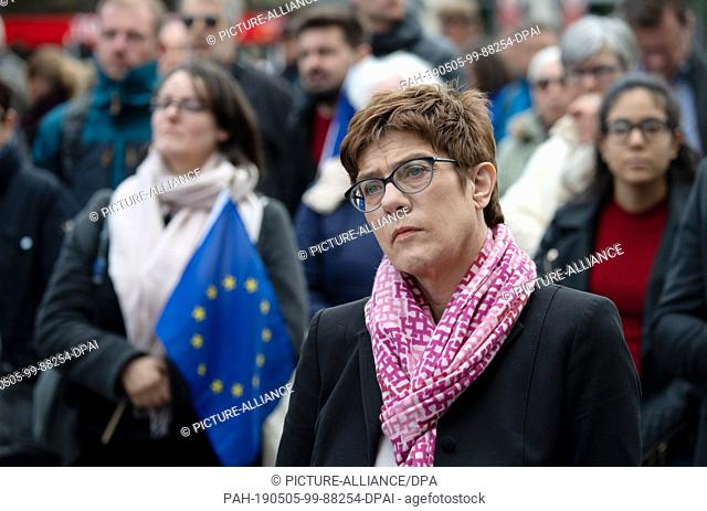 """05 May 2019, Berlin: Annegret Kramp-Karrenbauer (CDU), party leader, stands at the Gendarmenmarkt during a rally of the European initiative """"""""Pulse of Europe"""""""""""