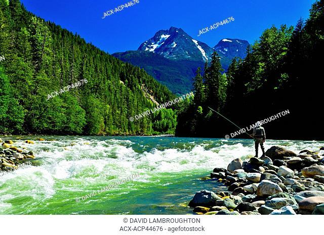 Man fly fishing, Dean River, British Columbia, Canada