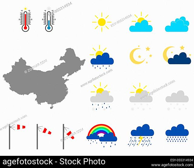 Karte von China mit Wettersymbolen - Map of China with weather symbols