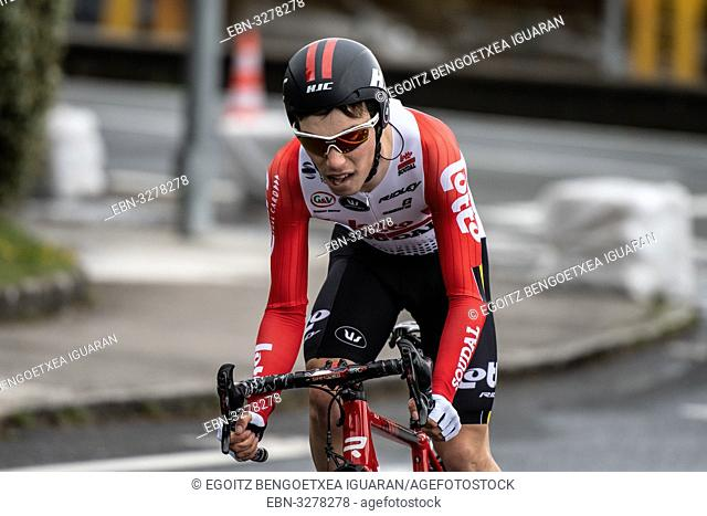 Bjorg Lambrecht at Zumarraga, at the first stage of Itzulia, Basque Country Tour. Cycling Time Trial race