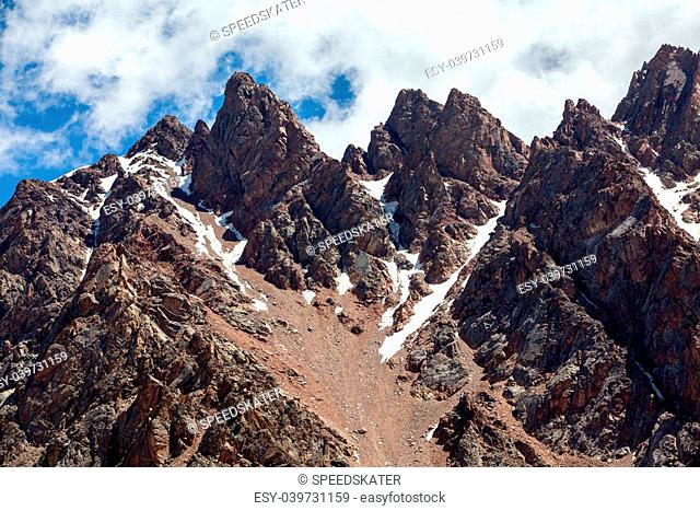 Sharp red mountain peaks. Tien Shan, Kirghizia