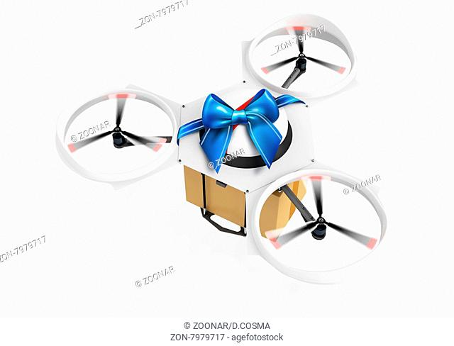 3d delivery drone with a gift package on white background